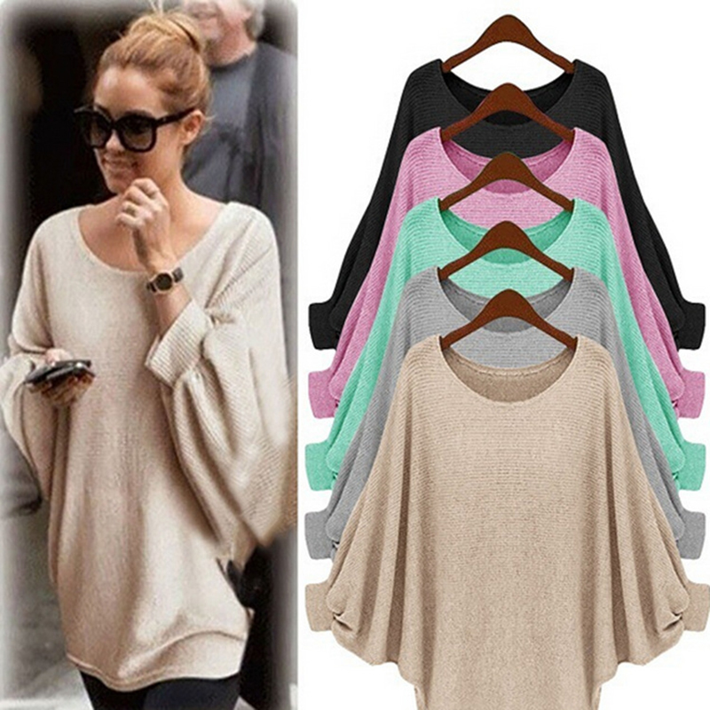 Knitted Sweater Pullovers Sleevetassel Long Winter Casual Women Bat Round Weweya