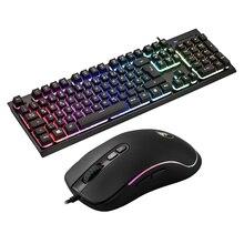 цена G081 Braided Wired Glowing Backlit Mechanical German Gaming Keyboard 100% Anti-ghosting Keyboard With Optical Mouse онлайн в 2017 году