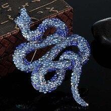 Blucome kawaii lindo de la serpiente broches bijuteriras perfecto rhinestone broches de las mujeres brand vintage colares de insectos broche broche