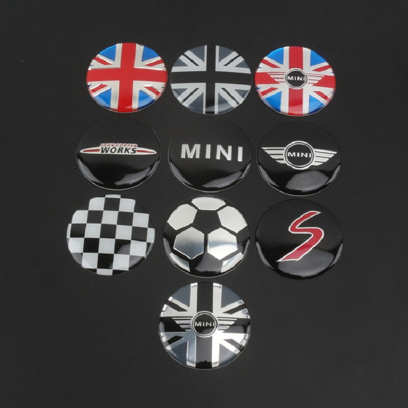 4pcs/set 52mm Wheel Center Cover stickers Mini Cooper S one JCW clubman countryman R50 R52 R55 R56 R57 R58 R59 R60 car styling-in Car Stickers from Automobiles & Motorcycles