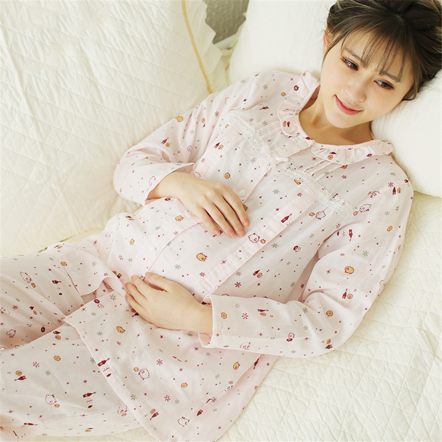 Cotton Maternity Sleepwear For Feeding Nightgown Clothes Pregnant Women Nightie Soft Cute Breastfeeding Pajamas Winter 60M0100 3 colors and free size autumn and winter women maternity sleepwear pregnant pajamas and comfortable nightgown free shipping
