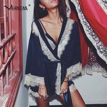 Verlena 2017 New Open Back Pijama Set Eyelash Lace Patchwork Hem Loose Kimono Robe Sexy Lingerie Pajamas Women Fashion Sleepwear