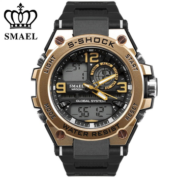 Choque lujo hombres reloj de oro de reloj digital hombre impermeable 50 m  LED reloj hombre grande dial reloj hombre reloj del deporte del reloj 2cab2f34a18a
