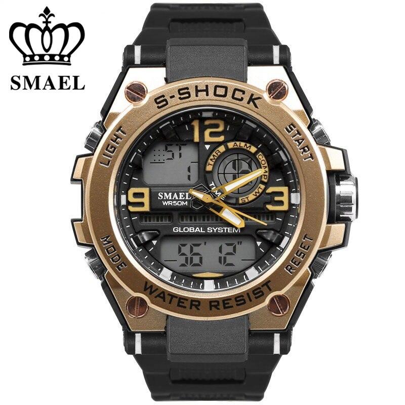 Shock Luxuly Men's Wrist Watch Gold Digital Watch Man Waterproof 50m LED Clock Man Big Dial Watch Man Sport Watch Clock iron man digital led steel band digital quartz wrist watch for man