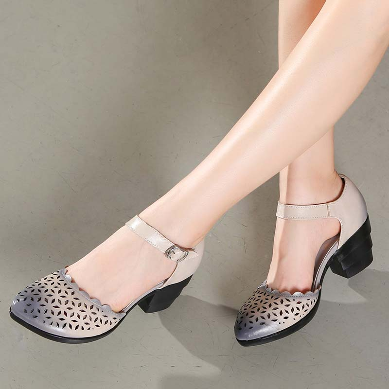 2019 Women Thick Heels Sandals Covered Toe Shoes Ethnic Style Summer Genuine Leather Hollow Women Sandal-in High Heels from Shoes    3