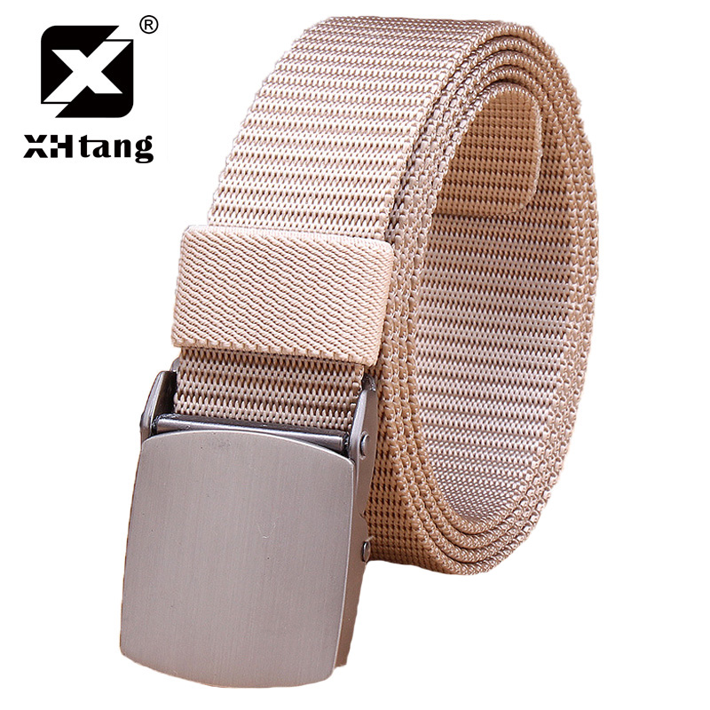 XHTANG 2018 Mens Canvas Belt Metal Tactics Woven Belt Canvas Belt Casual Pants Cool Wild Gift for Men Belts