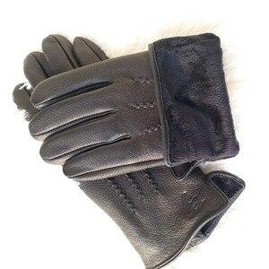 Image 3 - 2020 New  man deer skin leather gloves male warm soft mens glove black three lines design men mittens sheep hair lining