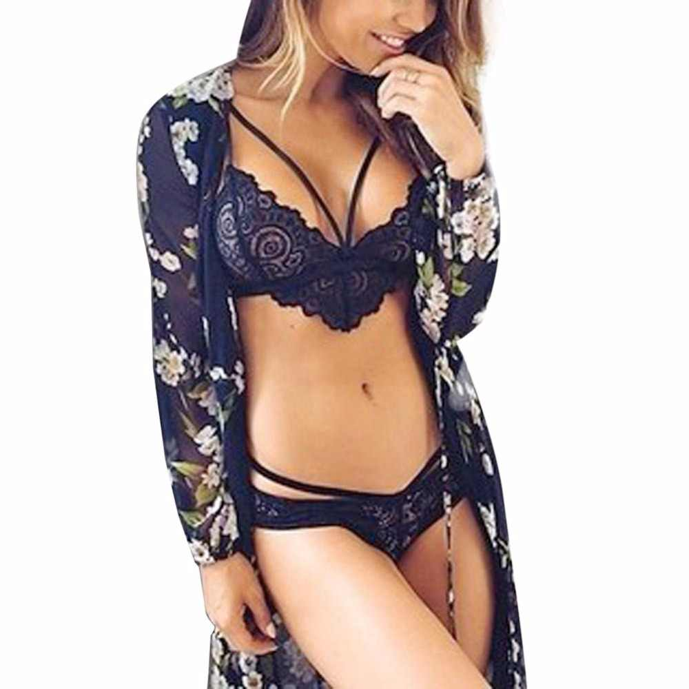 b705e162a1 ... New 2018 Sexy Women Sheer Lace Bralette Bra Set Lingerie Crop Tops  Thongs Underwear Camisole blusa ...