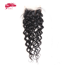 """Ali Queen Hair Water Wave Brazilian Virgin Hair 10"""" to 20"""" 100% Human Hair 4x4 Free Part Swiss Lace Closure With Baby Hair"""