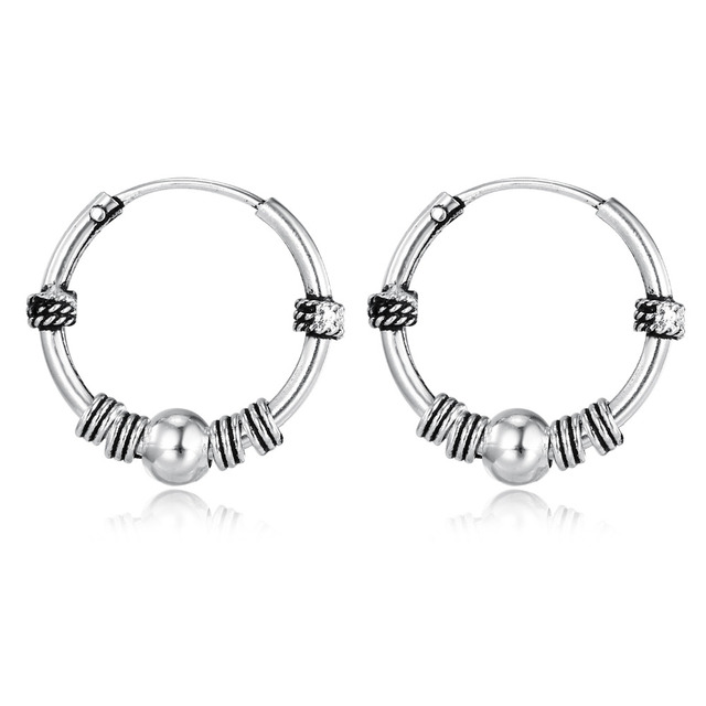 European Vintage Silver Color Hoop Earrings Circle Handmade Cool Small Earring For Women Bijoux