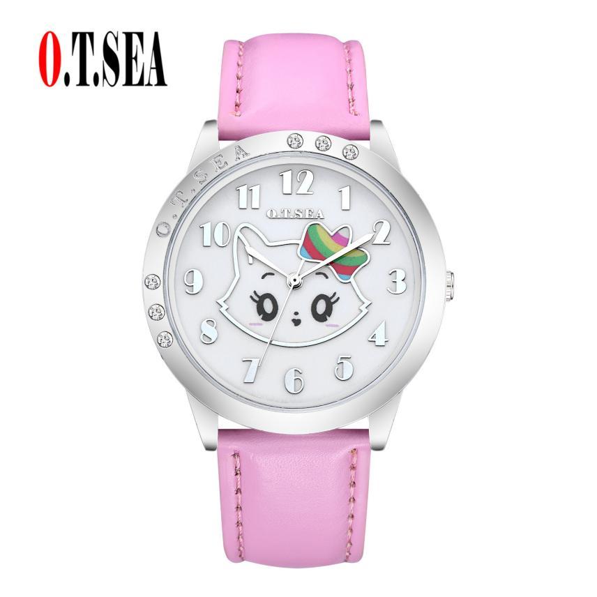 O.T.Sea women simple watches rhinestone cat pattern Alloy dial quartz clock 2017 woman business montre femme #500717