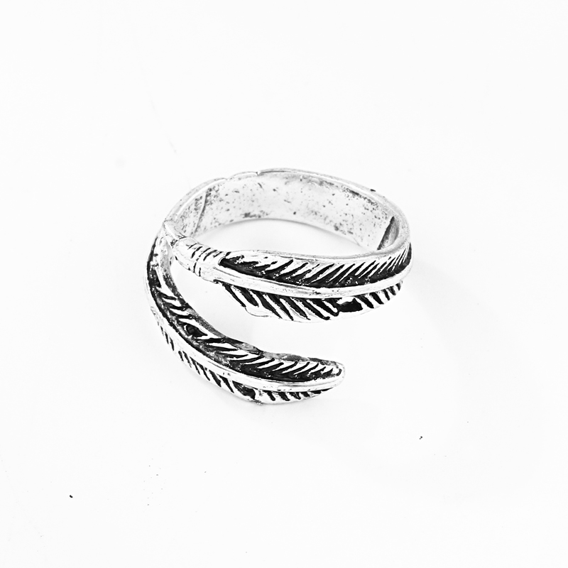 1 Pcs European New Creative Simple Slender Feather Opening Adjustable Ring Silver Color Hip Hop Personality Cool Ring R187-T2