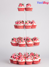 YestBuy 4 Tier Maypole Round Wedding Party Tree Tower Acrylic Cupcake Display Stand  (4 (15cm gap))(18.7 Inches)