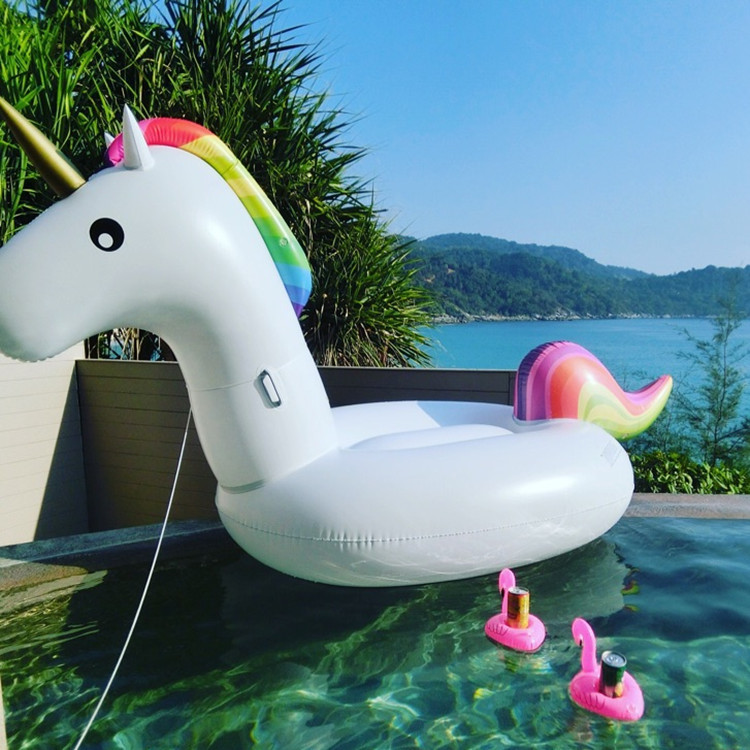 180*75*78cm Giant Inflatable Unicorn Pool Float 2019 Newst Ride On Swimming Ring Adults Children Water Holiday Party Toy Piscina