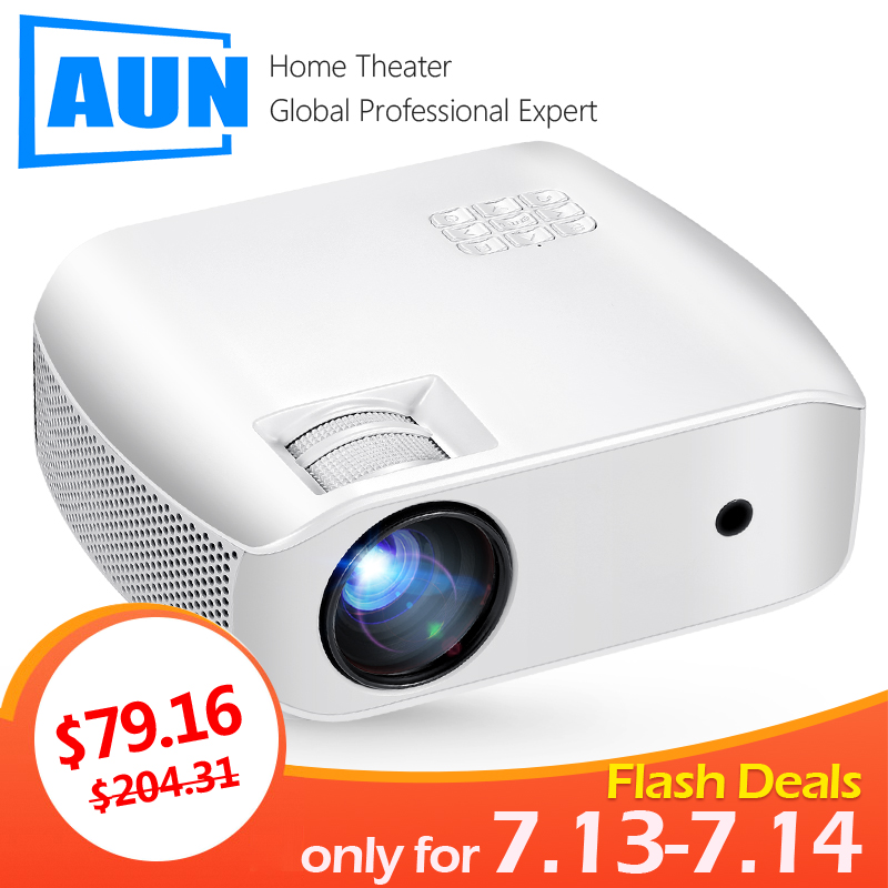 AUN MINI Projector F10UP, Android 7.1 (2G+16G) 1280*720P WIFI HDMI for Home Cinema, LED Proyector for 4K Video 3D beamer(China)