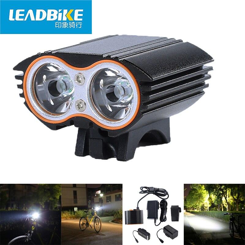LEADBIKE Bike Headlight Bicycle Front Light Double T6 Lamp Beads 1000LM Luz <font><b>Led</b></font> Bicicleta <font><b>Fahrradlicht</b></font> With 4800mAh Battery