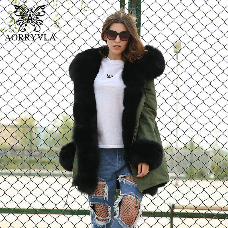 AORRYVLA 2018 Winter New Fashion Women Fur   Parkas   Natural Fox Fur Collar Hooded Long Coat Detachable Liner Thick Warm Jacket