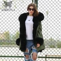 AORRYVLA 2018 Winter New Fashion Women Fur Parkas Natural Fox Fur Collar Hooded Long Coat Detachable Liner Thick Warm Jacket