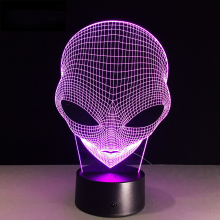 Alien Head Night Light LED 3D Illusion USB Touch Sensor Lampara Novelty Childrens Kids Gifts Bedroom Decorative Lamp