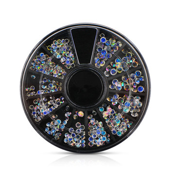 Nail Art 3D DIY Decorations Rhinestone Acrylic Crystal Case Micro Jewelry Wheel 2017 top sell