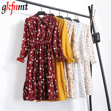 Gkfnmt Floral A-Line Elastic Waist Dress New 2018 Fashion O-Neck Long Sleeve Women Vintage Spring Chiffon Dresses Dropshipping