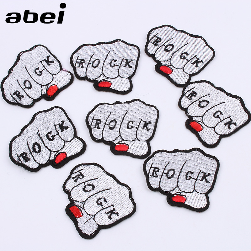 10pcs/lot Punk Rock Badge Iron On Embroidery Hand <font><b>Patch</b></font> DIY Jeans Stickers <font><b>Coats</b></font> Bags Garments Fabric Appliques Apparel <font><b>Patches</b></font> image