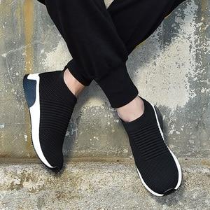 Image 3 - 2019 קיץ שחור סניקרס לטוס Weave נעלי גברים להחליק על לנשימה Tenis למבוגרים מקרית מאמני Krasovki Chaussure Homme Kadin Ayakkabı