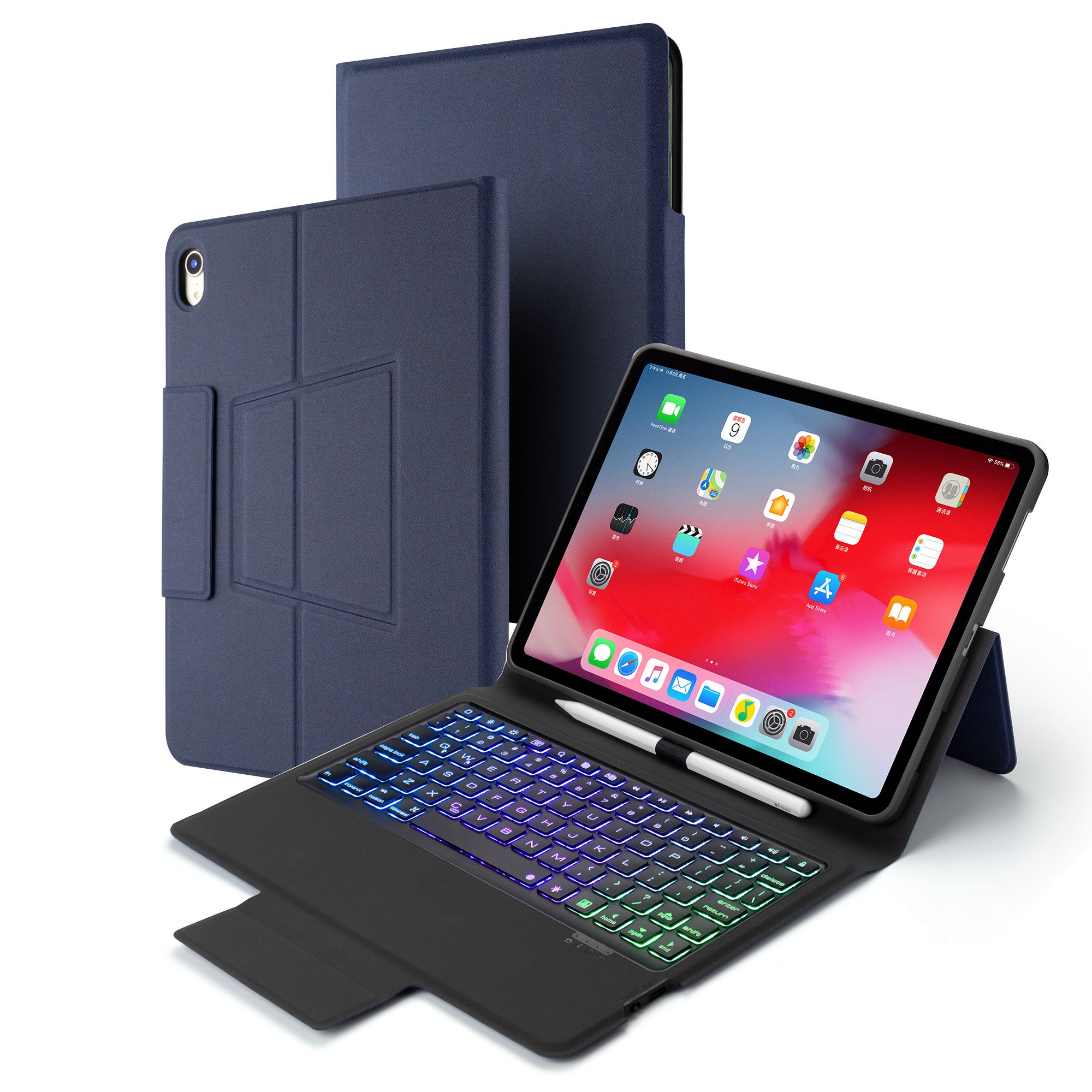תאורה אחורית 7 מקשים צבע תאורה אחורית עבור iPad Pro 11 אינץ