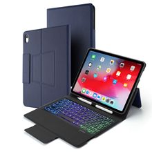 7 Color Backlight Keyboard for iPad Pro 11 Inch 2018 Bluetooth Keyboard Leather Case Flip Stand Tablet Case with Pen Holder slate 7 3g tablet case for hp slate 7 3g g1v99pa stand leather case with hand holder screen protectors