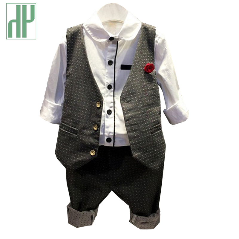 HH boutique Kids clothes suit 3pcs toddler boys formal wedding clothing full set gentleman Plaid korean children clothing in Clothing Sets from Mother Kids