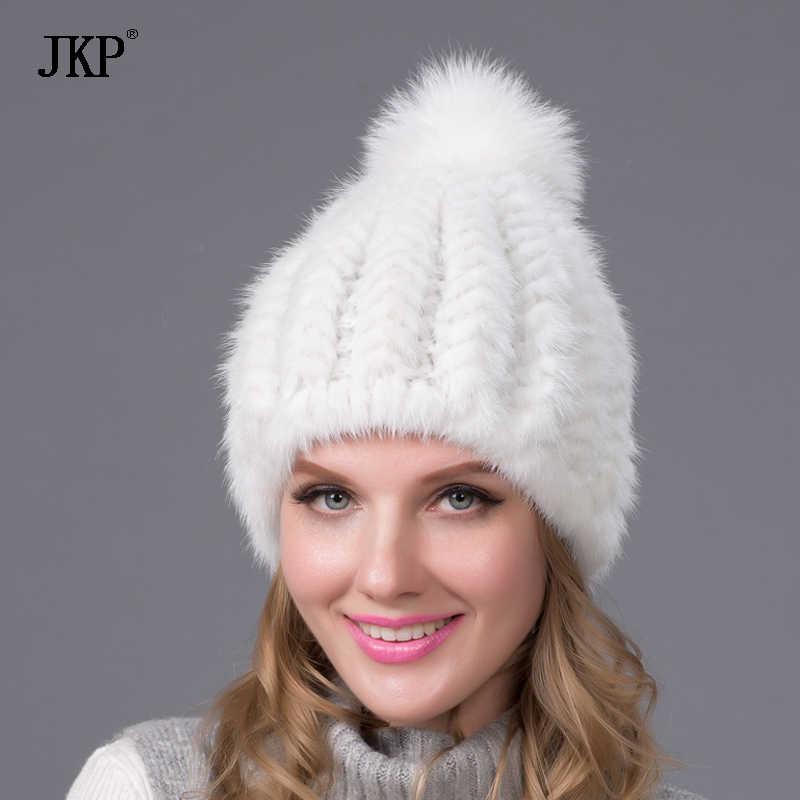 7d5aac5b063 ... Real mink fur hat for women winter knitted mink fur beanies cap with fox  fur pom ...