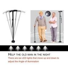 Magic Cane Folding LED Light Safety Walking Stick 4 Head Pivoting Trusty Base