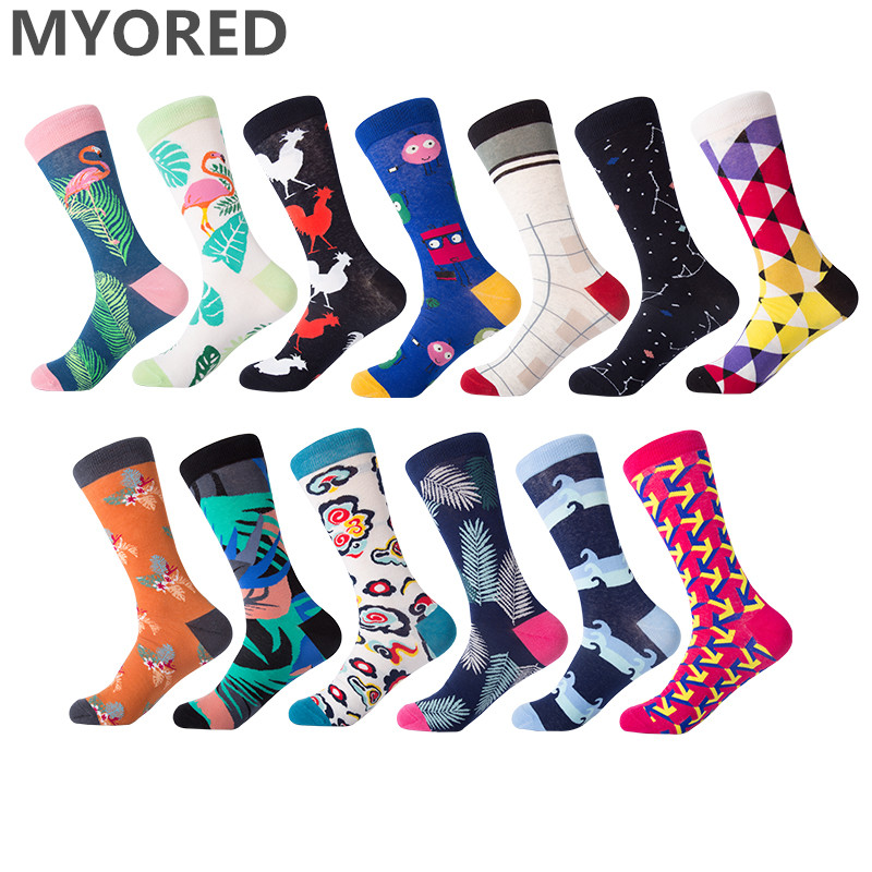 MYORED 1 pair man   socks   2018 combed cotton high quality colorful funny male   socks   creative crew   socks   for casual wedding dress