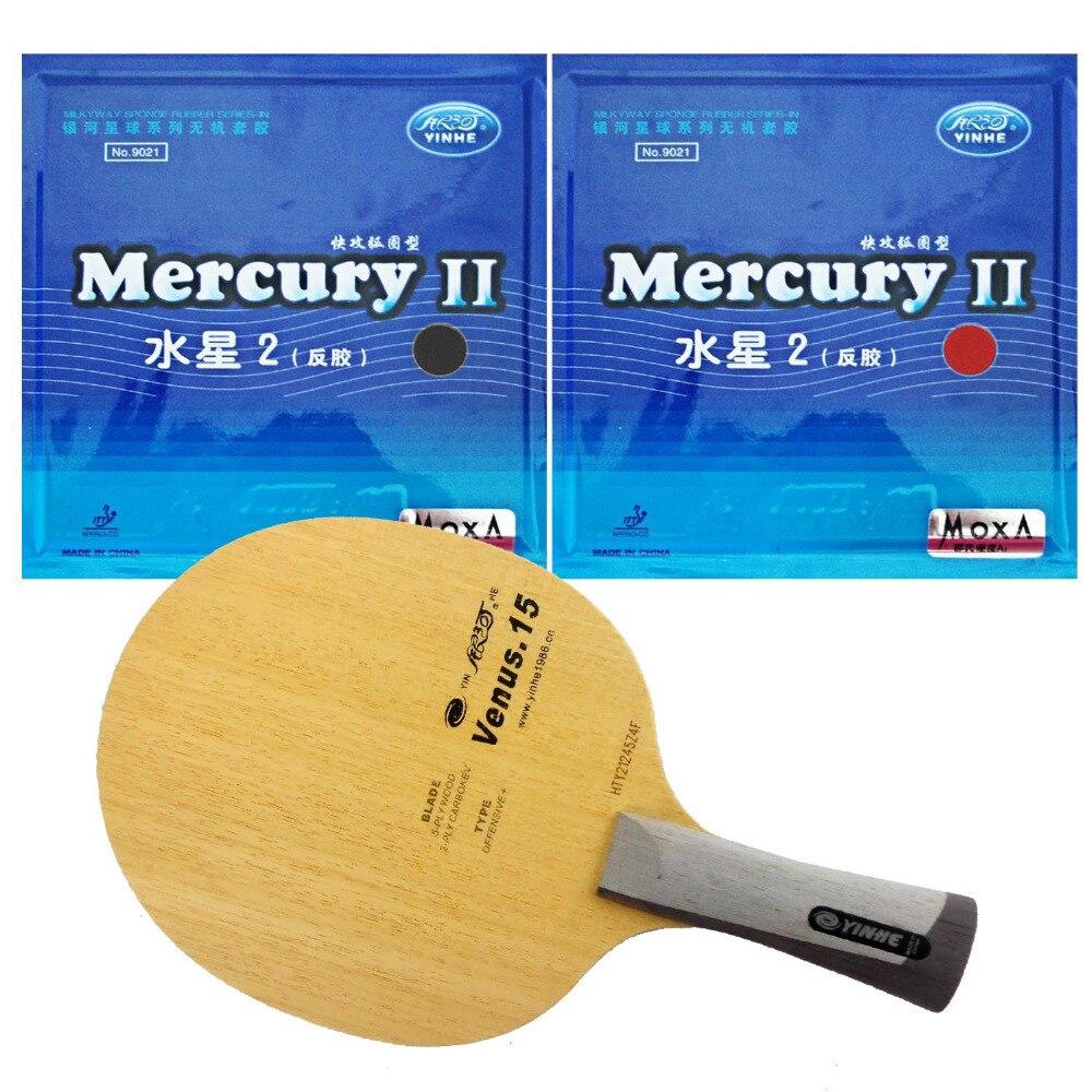 Pro Table Tennis Ping Pong Combo Paddle  Racket  Yinhe Venus.15 + 2 Pcs Mercury II shakehand Long Handle FL boer table tennis 1 star ping pong racket paddle