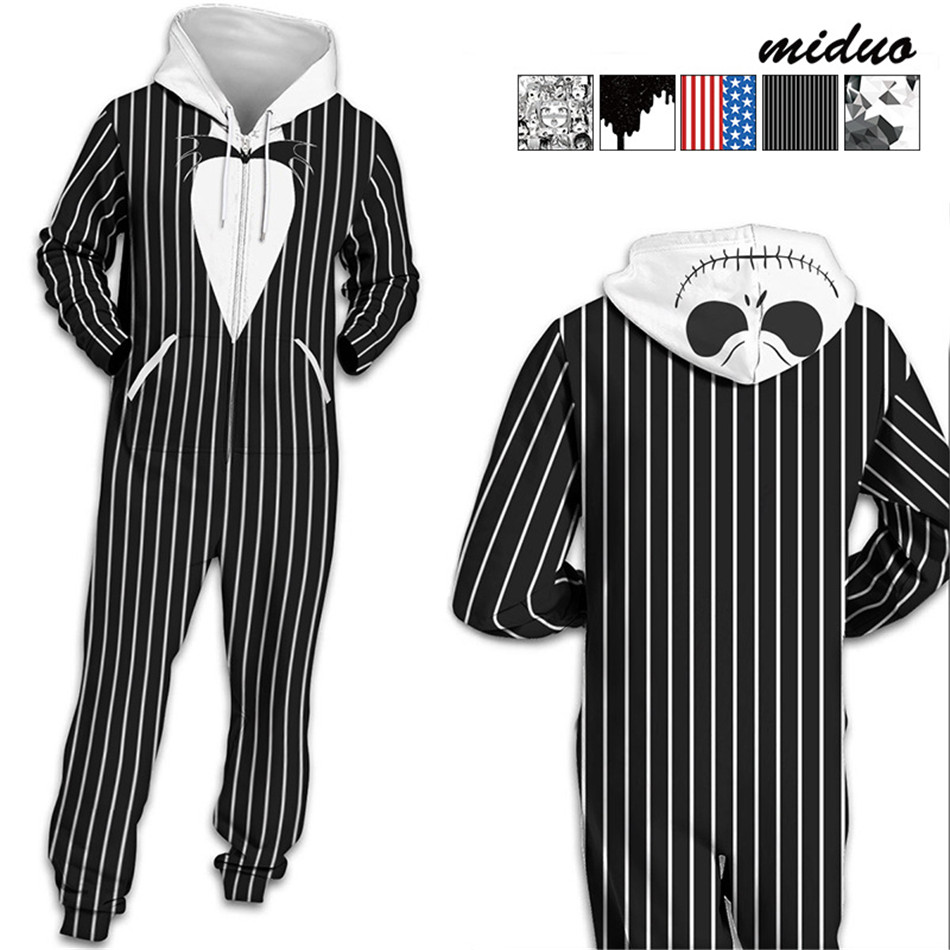 63c44e3a6df2 2018 Striped Block 3D Print Hooded Onesies Unisex Women mens Hooded  Sleepwear Adult Winter Pijamas