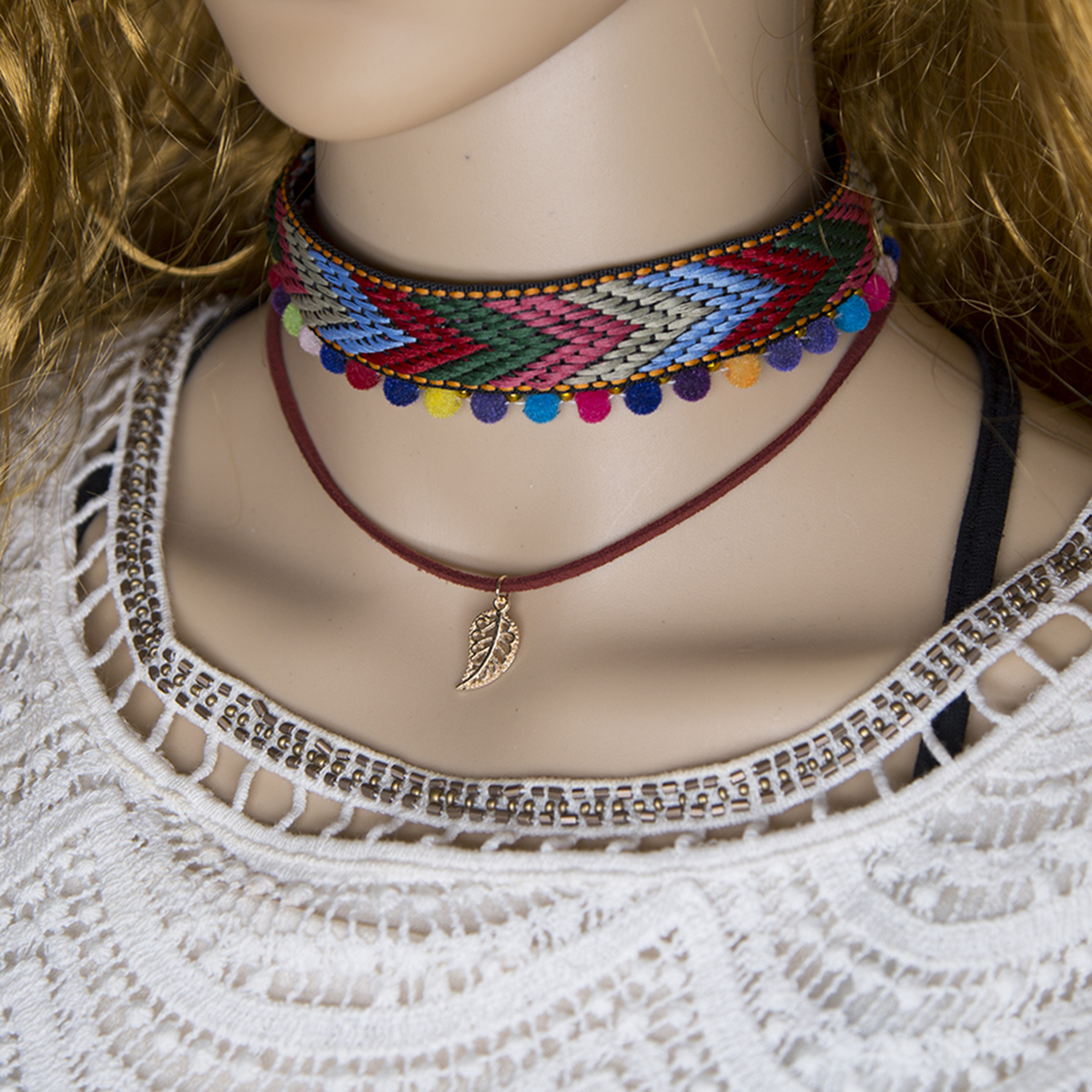 Ethnic Women Chain Leaf Pendant Necklaces Bohemian Woven Cloth Leather Rope Collar Choker Necklace Femme Jewellery Shellahrd