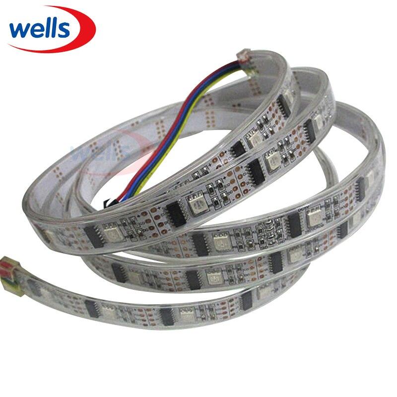 5v led strip waterproof 1M 32 Pixels WS2801 Led Light 32pcs WS2801 IC SMD 5050 RGB LED Dream Color Black/White PCB Strip Light