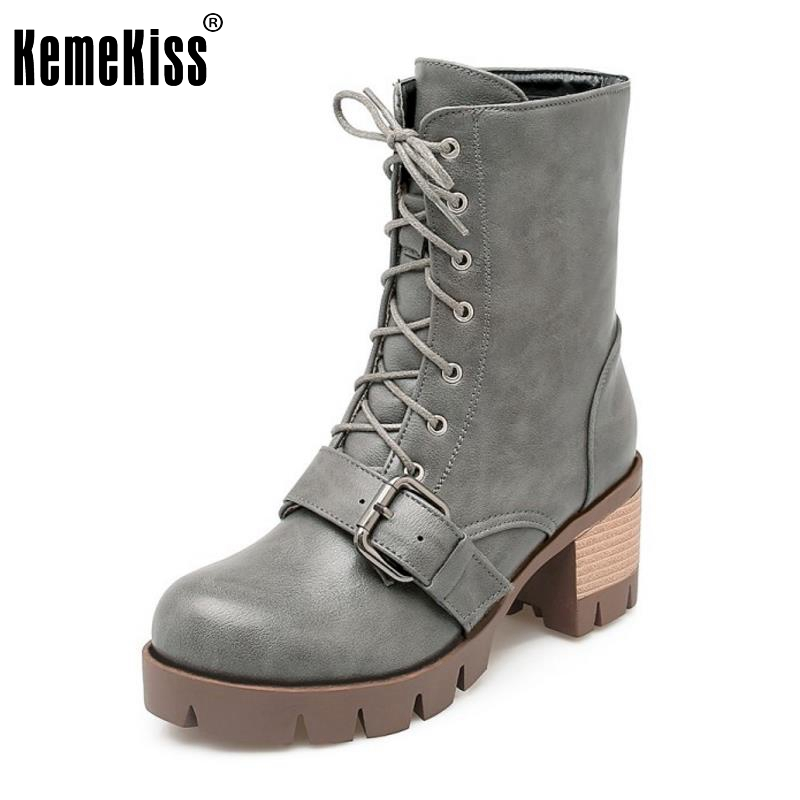 Women Ankle Boots Lace-Up New Fashion Riding Short Boot Solid Fur Botas Woman Square Heel Shoes Heeled Footwear Size 32-42 new arrive dual square handles waterfall spout bathroom sink basin faucet brushed nickel deck mount