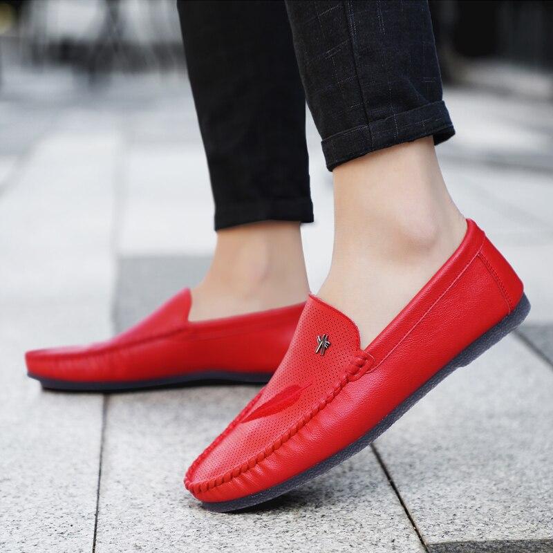 white Forma Sapatos Nova Hard em Condução Cor Da Casuais Beige Macio Respirável Mocassins wearing Chegada Dos 4 black De Barco Homens red Deslizamento Flats cFrFgIHq