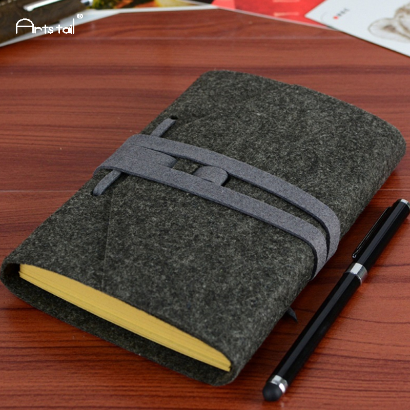 Arts Tail Wool Felt Cover Creative Retro Bands Vintage School Office Loose Sheet Note Book Kraft Paper Travel Daily NotebooksArts Tail Wool Felt Cover Creative Retro Bands Vintage School Office Loose Sheet Note Book Kraft Paper Travel Daily Notebooks