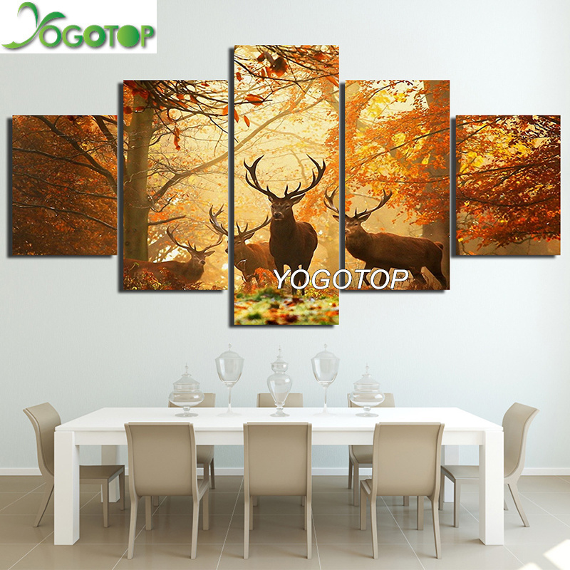 YOGOTOP DIY Diamond Painting Cross Stitch Kits Full Diamond Embroidery 5D Square Drill Mosaic Decor Deer Landscape 5pcs ML552 in Diamond Painting Cross Stitch from Home Garden