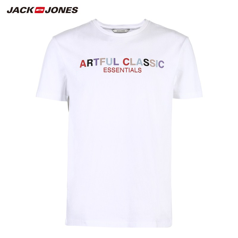 JackJones Men's 100% Cotton Printed Short-sleeved T-shirt Top Menswear 219101542