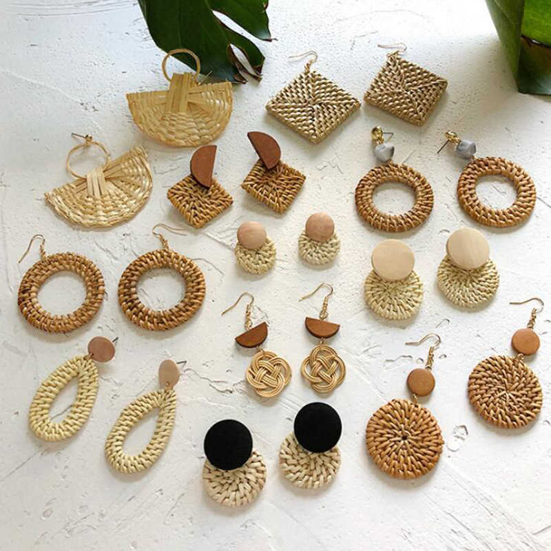 New Fashion Korea Handmade Geometric Wooden Big Hollow Out Square Rattan Straw Weave Drop Earrings for Women2019