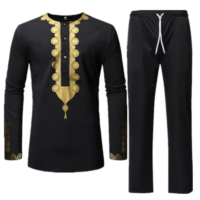 Men Sets Traditional African Africa Clothing Cotton Black Dashiki Bazin Riche Print Top Shirt Pants Embroidery Male Suits Outfit in Africa Clothing from Novelty Special Use