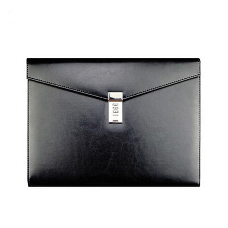 A4 cuir noir mot de passe serrure Document sac gestionnaire dossier TPN086