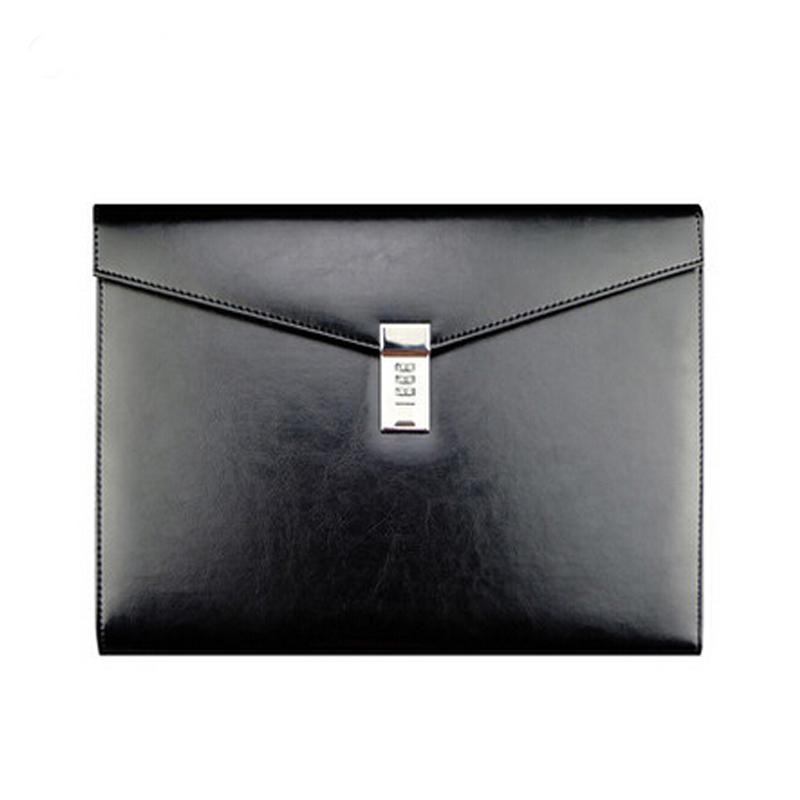 A4 Black Leather Password Lock Document Bag Manager File Folder TPN086(China)