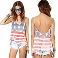 2016 Best Goods American Flag Vest Sleeveless Fine Personality Sling Fashion Loose Sexy Female Clothing Women Sleeveless Stripes