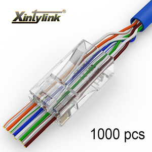 Image 1 - Xintylink 1000 قطعة EZ rj45 موصل RJ RG 45 التوصيل cat5 cat5e cat6 شبكة موصل 8P8C utp cat 6 إيثرنت كابل غير محمي جاك