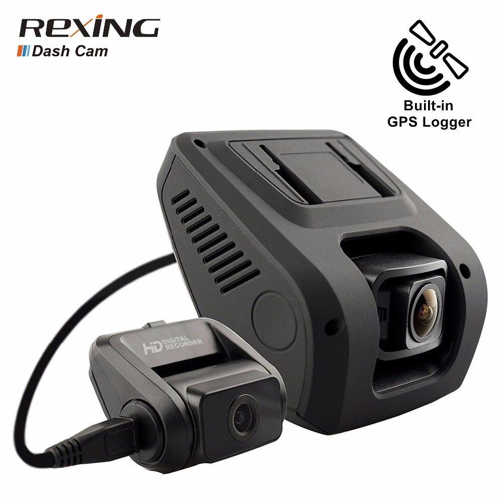 Rexing V1LG, 1080 p + 720 p Avant Arrière Double Caméra, GPS, Voiture Dvr, dash Cam, Grand Angle, Nuit Vision