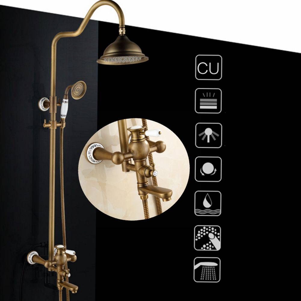 Bathroom Rain Shower Set Antique Bronze Wall Mounted Bath Shower Faucets with Hand Shower Wall Mounted EL0628-in Shower Faucets from Home Improvement    1
